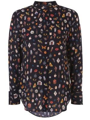 Шелковая блуза с принтом A.MCQUEEN