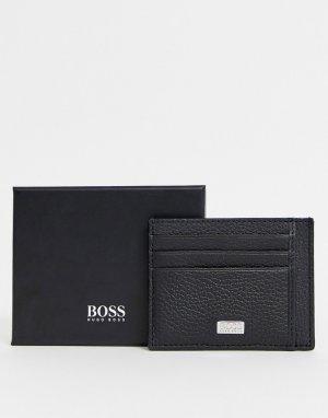 Черная кожаная визитница с логотипом -Черный BOSS
