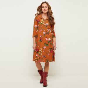 Платье расклешенное с рукавами 3/4 и цветочным рисунком JOE BROWNS. Цвет: каштан
