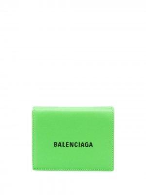 Мини-кошелек Cash Balenciaga. Цвет: зеленый