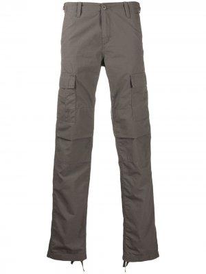 Брюки прямого кроя с карманами Carhartt WIP. Цвет: серый