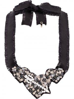 Ожерелье с кристаллами RedValentino. Цвет: черный