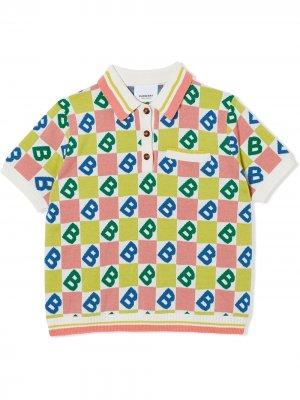 Рубашка-поло с логотипом B Burberry Kids. Цвет: белый