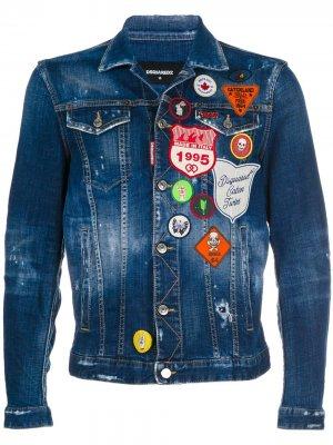 Джинсовая куртка с заплатками Dsquared2. Цвет: синий