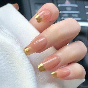 24шт контрастные накладные ногти SHEIN. Цвет: обнаженные