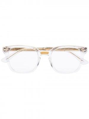 Очки в прямоугольной оправе Gucci Eyewear. Цвет: золотистый