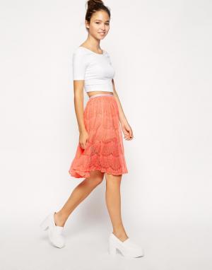 Кружевная юбка миди American Apparel. Цвет: розовый