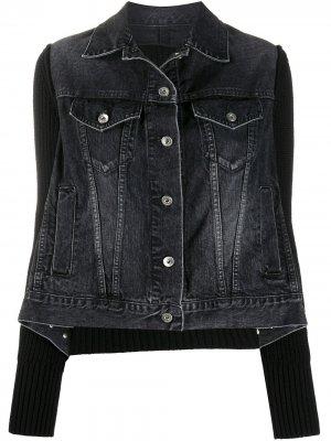 Джинсовая куртка в рубчик Sacai. Цвет: черный