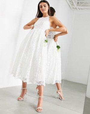 Кружевное свадебное платье миди с американской проймой -Белый ASOS EDITION