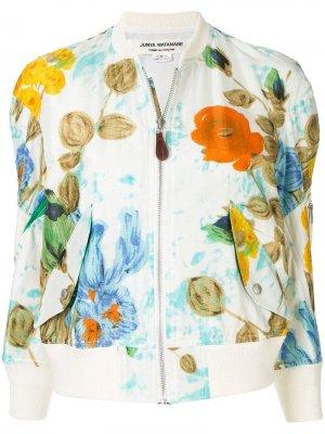 Куртка-бомбер с цветочным принтом Junya Watanabe. Цвет: белый