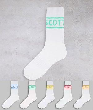 Набор из 5 пар белых спортивных носков c логотипами в пастельных оттенках -Белый Lyle & Scott Bodywear
