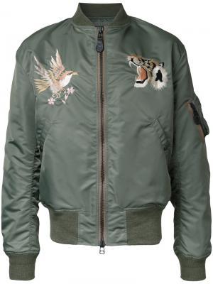 Куртка-бомбер Wind Protex Gold / Toyo Enterprise. Цвет: зелёный