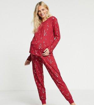 Красная длинная пижама из эко-полиэстера со звездами Maternity-Красный Chelsea Peers
