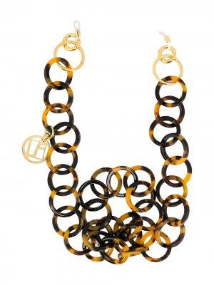Колье-цепочка черепаховой расцветки Linda Farrow. Цвет: коричневый