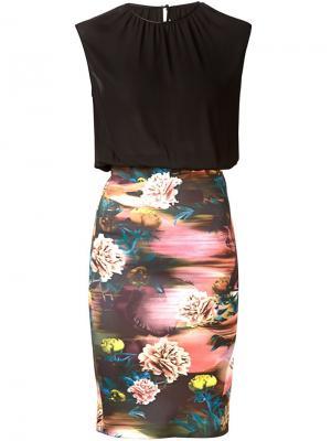 Облегающее платье с принтом на юбке Clover Canyon. Цвет: чёрный