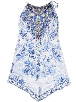 Блузка без рукавов с цветочным принтом Camilla. Цвет: белый