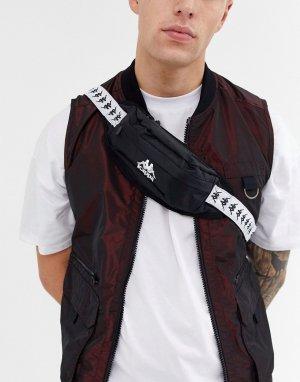 Черная сумка-кошелек на пояс с логотипом ленте Authentic Anais-Белый Kappa