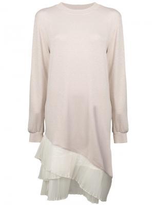 Полупрозрачное многослойное платье Clu. Цвет: нейтральные цвета