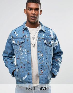 Джинсовая оversize‑куртка с брызгами краски Reclaimed Vintage. Цвет: синий