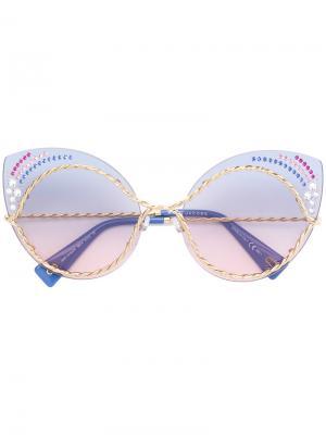 Массивные декорированные солнцезащитные очки в оправе кошачий глаз Marc Jacobs Eyewear. Цвет: синий