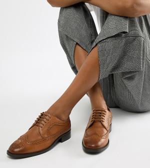 Кожаные броги -Светло-коричневый ASOS DESIGN