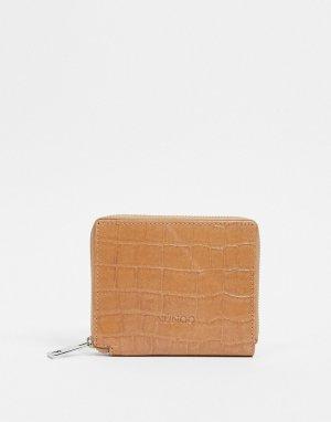 Кожаный бежевый бумажник на молнии с эффектом крокодиловой кожи -Neutral Nunoo