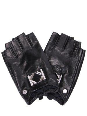 Перчатки-митенки кожаные Miss K KARL LAGERFELD