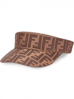 Козырек с логотипом FF Fendi. Цвет: коричневый