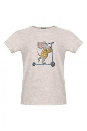 Меланжевая футболка с принтом «Мышонок на самокате» LISA&LEO. Цвет: бежевый