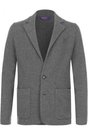 Однобортный пиджак из смеси шерсти и кашемира Ralph Lauren. Цвет: серый