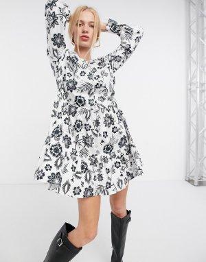 Ярусное свободное платье мини с завязкой на горловине и черно-белым цветочным принтом -Многоцветный Glamorous