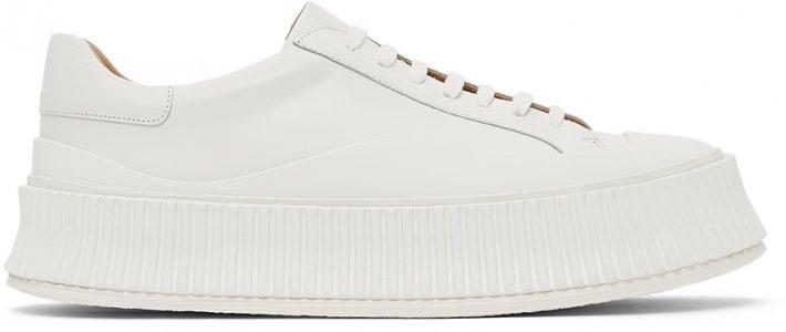 White Platform Sneakers Jil Sander. Цвет: 100 white