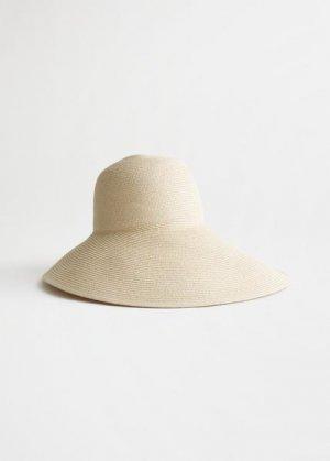 Шляпа из соломы с широкими полями и лентами &Other Stories. Цвет: белый