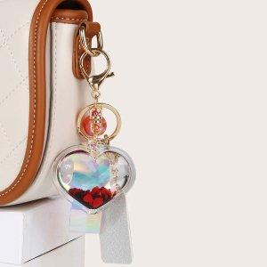 Подвеска для сумки в форме сердечка с декором SHEIN. Цвет: красный