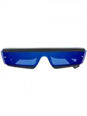 Затемненные солнцезащитные очки в прямоугольной оправе Diesel. Цвет: черный