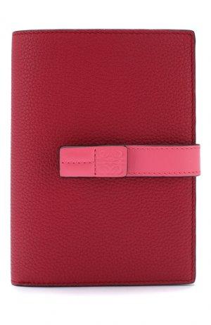 Кожаный кошелек с отделениями для кредитных карт Loewe. Цвет: малиновый