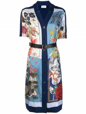 Платье миди с цветочным принтом Salvatore Ferragamo. Цвет: синий