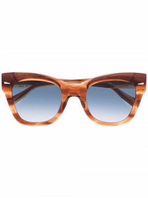 Солнцезащитные очки в оправе кошачий глаз GIGI STUDIOS. Цвет: оранжевый