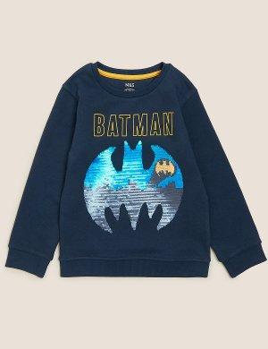 Хлопковая толстовка с принтом Batman ™ Marks & Spencer. Цвет: уголь