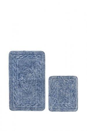 Комплект ковриков для ванной Alanur. Цвет: голубой