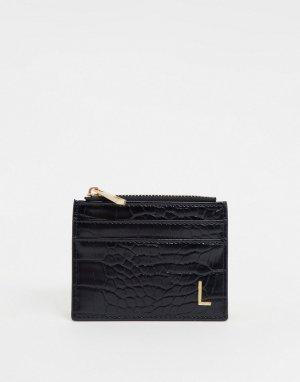 Черный кошелек и кредитница с эффектом крокодиловой кожи буквой L ASOS DESIGN