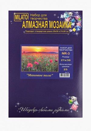 Набор для творчества Милато алмазная мозаика Маковое поле, 25 цветов. Цвет: разноцветный