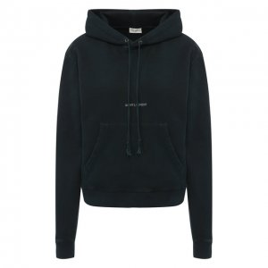 Хлопковый пуловер с капюшоном Saint Laurent. Цвет: хаки