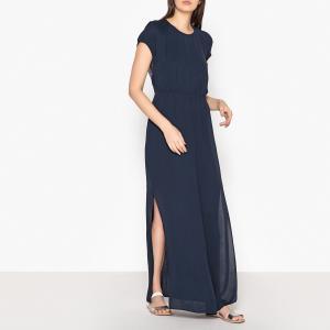 Платье коктейльное длинное с кружевной спинкой REYA SAMSOE AND. Цвет: темно-синий