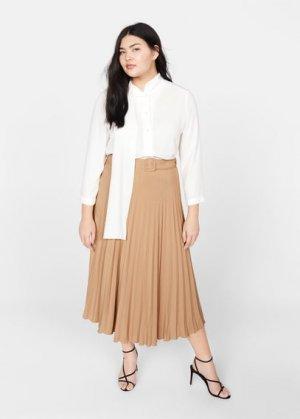 Плиссированная миди-юбка - Camelo Mango. Цвет: коричневый средний