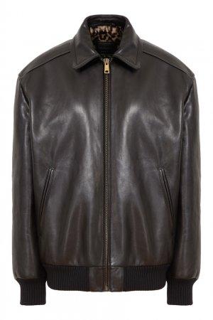 Черный кожаный бомбер Prada. Цвет: черный
