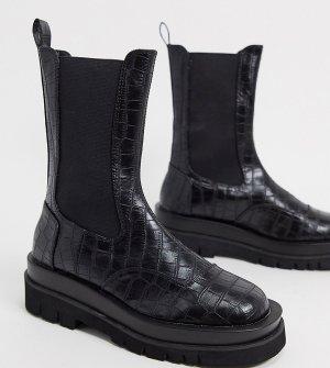 Черные ботинки челси для широкой стопы с отделкой под кожу крокодила Nora-Черный цвет Z_Code_Z Wide Fit