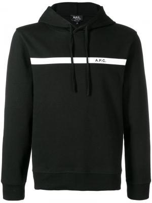 Толстовка с капюшоном и логотипом A.P.C.. Цвет: черный
