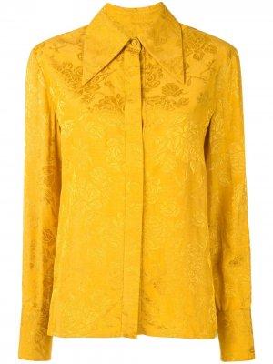 Жаккардовая рубашка с цветочным узором Karen Walker. Цвет: желтый