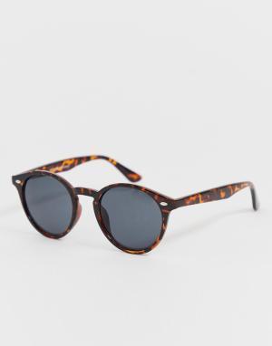 Круглые солнцезащитные очки в черепаховой оправе -Коричневый New Look